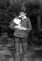 "George and his pet rabbit ""Mr"" in July 1906"