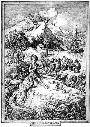 Illustration of Peter Pan playing the pipes, with Neverland in the background by F D Bedford, from the novel Peter and Wendy published in 1911